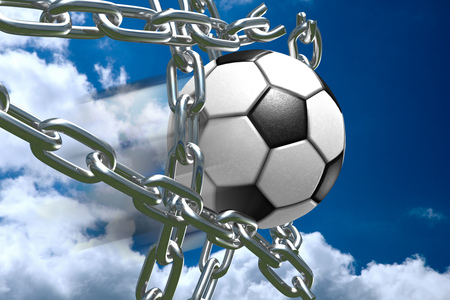 Soccer Ball Breaking Through Metal Chains While Making A Goal, Symbolizing Breaking Free, Strength, Victory, And Success